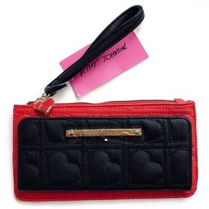 Betsey Johnson Heart Quilted Wallet Wristlet NWT